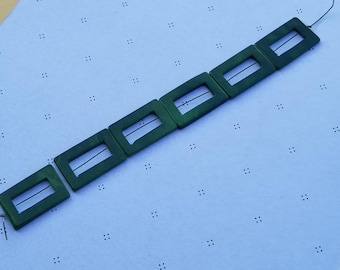 Green Forest Mother of Pearl Rectangle Donut Beads