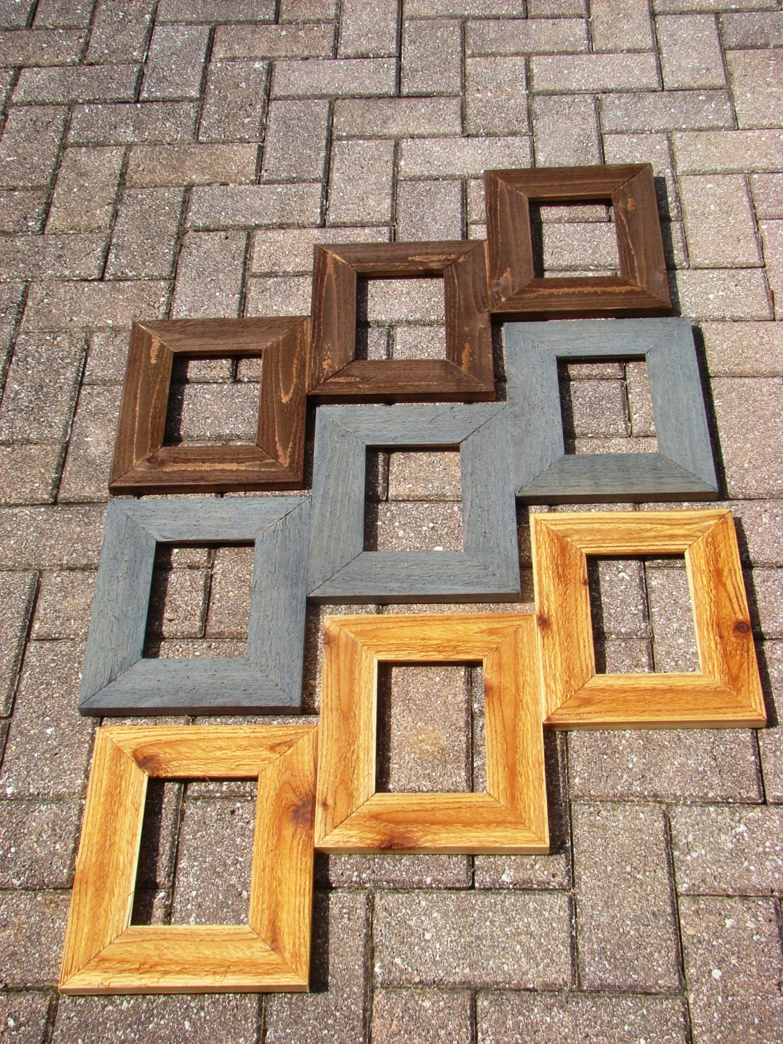 Step design weathered barnwood picture frame collage 3