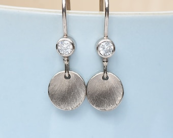 Moissanite Petal Earrings in 18k Gold, Fair Trade and Eco Friendly