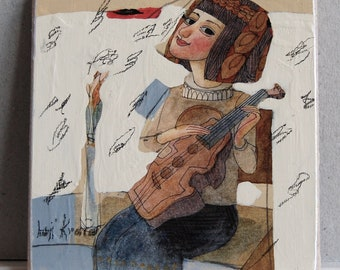 Jurij Kravcov -music - Oil on cartboard