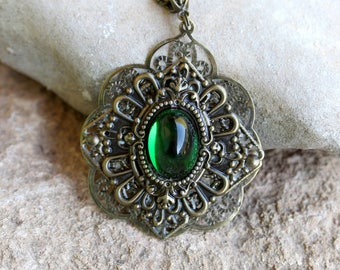 Bronze and green victorian gothic necklace pendant