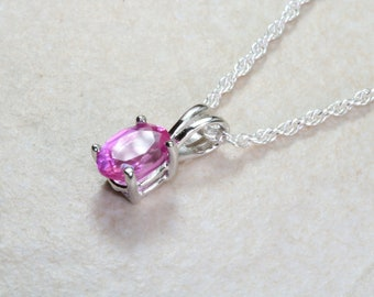 Natural Pink Topaz Necklace. Silver with Oval Topaz Pendant and Chain, birthday, anniversary or graduation gift. January birthstone
