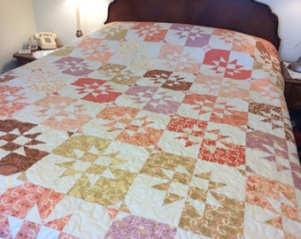 Pastel double bed quilt/peaches and cream star bed quilt/large twin bed quilt/peach blanket/peach summer bed topper/handmade double quilt