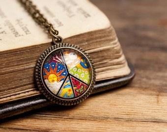 Tiny peace necklace, antique brass pendant, glass dome pendant, antique bronze pendant, brass necklace, glass necklace, tiny peace necklace