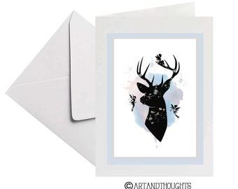 Silhouette greeting card | Deer and Fairies | Blank Card | Fairies Greeting card | Stag antlers | Fairy art card | Frameable Keepsake card