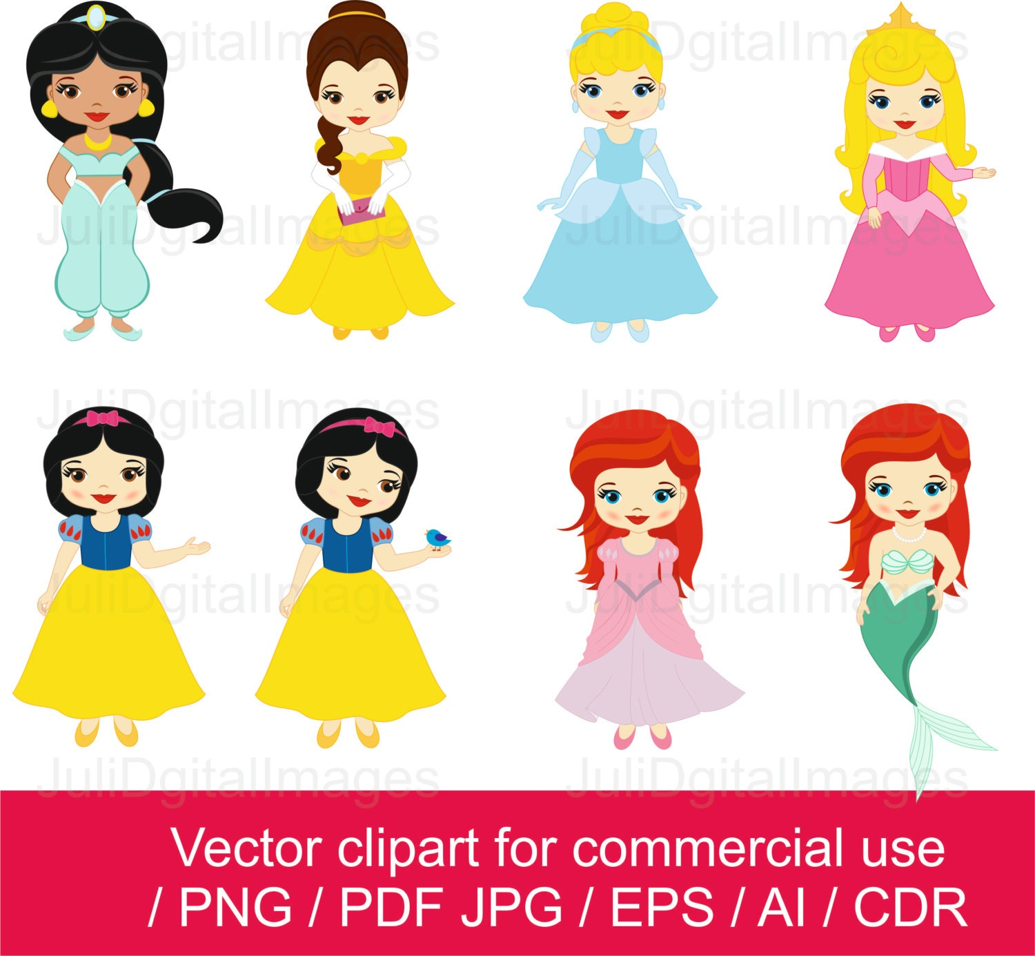 Princesses clipart / Little Princess clipart / Princess vector