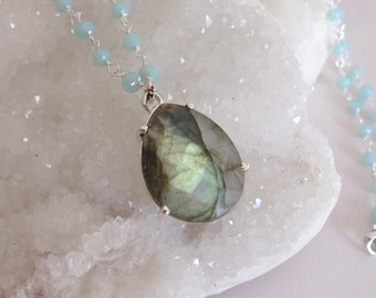 Pear Shape Labradorite Necklace- Faceted Labradorite Beaded Necklace- Unique Gemstone Necklace- Classic One of A Kind Necklace