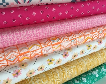 Rainbow fabric bundle, Patchwork Quilting, Baby Quilt Fabric, Arizona Fabric, Art Gallery Fabric- Fabric Bundle of 7