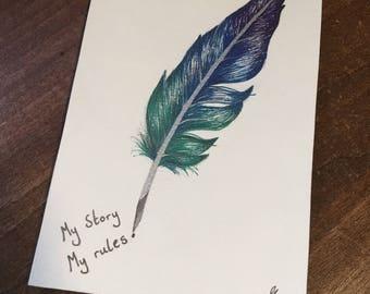 Metallic feather drawing