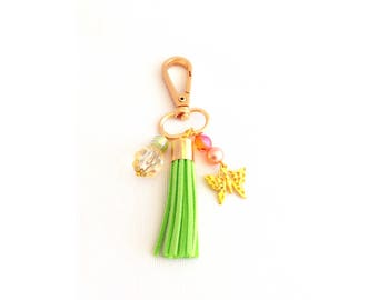 green tassel purse charm, clip on tassel with charms, lime green faux suede tassel for keychain or handbag