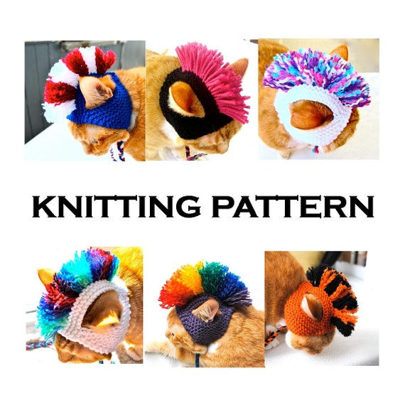 Mohawk Cat Hat Knitting Pattern Instant Download Diy Hand Knit