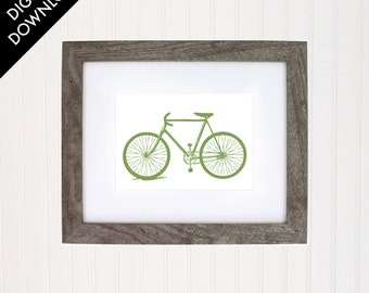 Bike Bicycle art print, baby nursery, home decor, digital download
