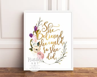She Believed She Could So She Did   Graduation Gift for her  INSTANT DOWNLOAD