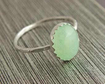 Aventurine Ring, Aventurine, Aventurine Jewelry, Gemstone Ring, Stacking Ring, Sterling Bezel Ring, Green Stone Ring, Sustainable Jewelry