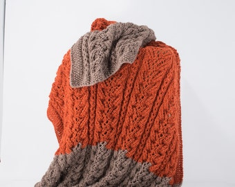 Knit Alpaca Blanket, Afghan, Throw, Burnt Orange and Taupe, Cable Knit, Alpaca Silk - 111