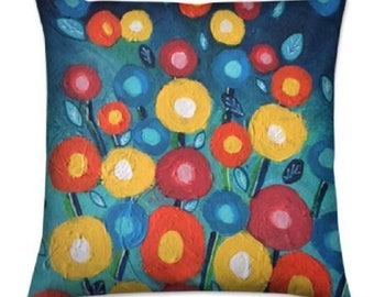 """Floral Throw Cushions """"Barbuda Blooms"""" Limited Edition Print - 40 cm"""