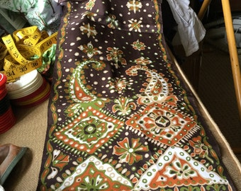 Vintage Rectangle Scarf or Wrap In Brown Green Tans White Whimsical Pattern With Paisley