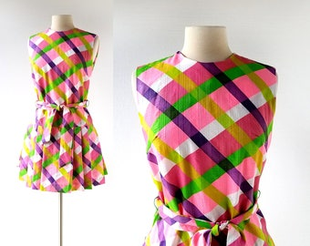 60s Scooter Dress | Playland | 1960s Plaid Dress | Small S