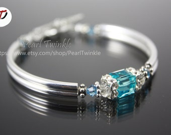 Light Blue Crystal Bracelet, Mother's day gift under 50, Blue Turquoise Swarovski Crystal Bracelet, Swarovski bracelet, gift box