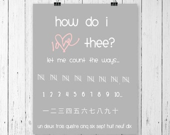 How do I love thee print, love sign, home decor, home decor wall art, valentines day decor, valentines day gift, valentines sign