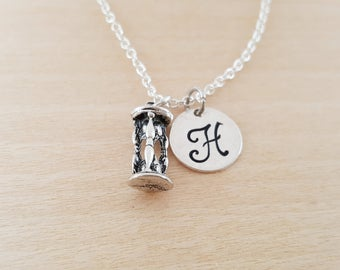 Hourglass Charm - Personalized Custom Initial Silver Necklace - Simple Jewelry - Gift for Her