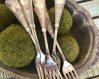Rogers Bros. Silverplate Set of 6 Dinner Fork 1879 Pattern Laurel Hard to Find Utensil Flatware TYCAALAK