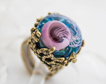 Bronze ethnic ring with jelly fish, Medusa ring, lampwork adjustable size ring with medusa, birthday gift for friend, glass ring