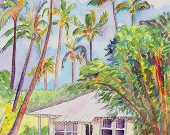 Kauai art prints, Kauai Plantation Cottages, Wamiea Houses, Hawaiian art, Kauai art, Kauai vacation art, kauaiartist, Hawaii wall art,