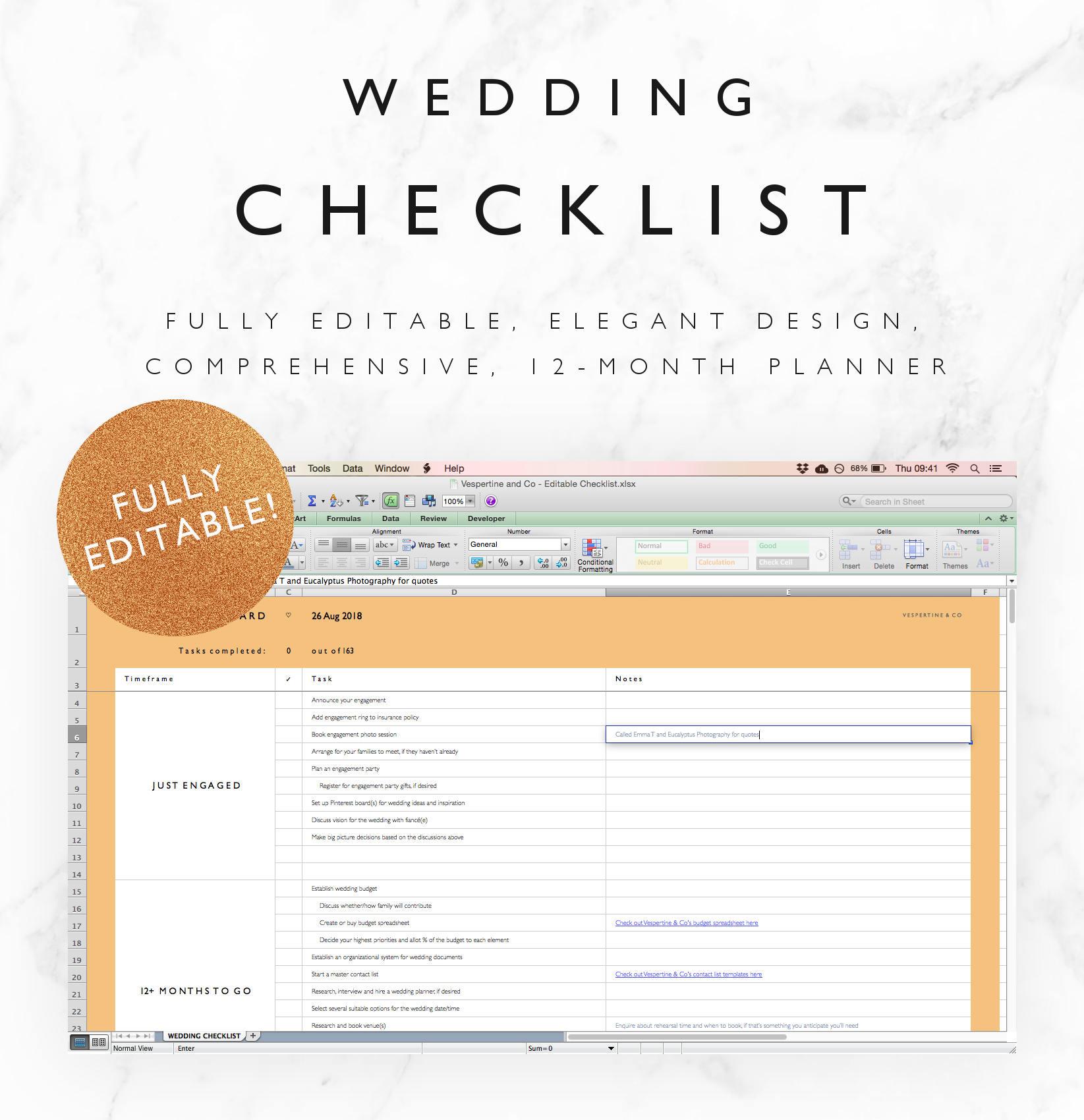 Editierbare Hochzeit Checkliste Excel Tabelle 12