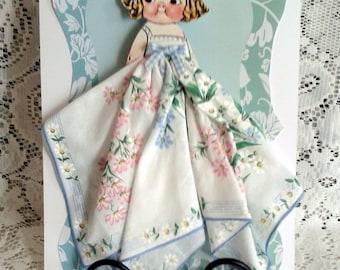 Carolyn Dolly Dingle Paper Doll Hankie Card