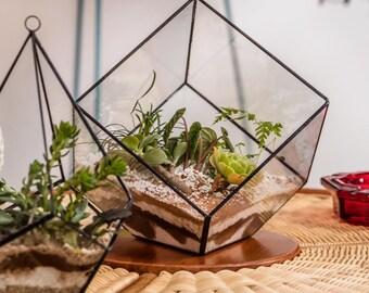 Terrarium - Square Terrarium Big - Geometric planter - Indoor planter - Glass terrarium - Succulent terrarium -Planter desk modern
