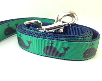 Dog Leash, Whales, 1 inch wide, 1 foot, 4 foot, or 6 foot