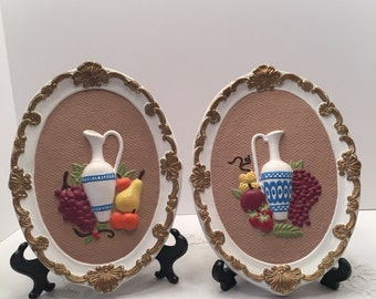Vintage Fruit and Jug Wall Plaque ~ Pears Apples Grapes ~ Gold White ~ Set of Two