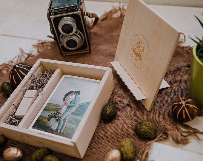 5x7 Wood print box with photo stand. Enough space for prints and usb drive - lid converts into a photo stand - square - (8gb USB option)