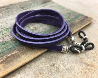 Violet Purple Leather Glasses Chain, Eyeglass Chains Lanyards, Leather Strap For Eyeglasses Sunglasses, TheEagleAndHawk EyeWear Accessories