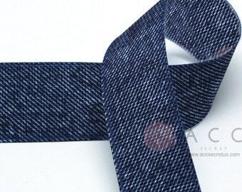 5Yards 25mm(1'') Double Side Blue Denim Grosgrain Ribbon