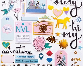 """Gold-foil Die-Cut Ephemera Pack - """"Storytime"""" collection"""