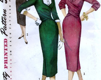 Simplicity 1760 Vintage 50s Sewing Pattern for Misses' One-Piece Dress - Uncut - Size 14 - Bust 34