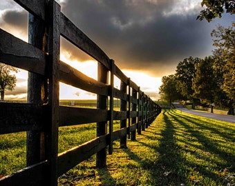 Country Sunrise, Farm, Fence, Rural, Shadow, Plank Fence, Horse Farm, Kentucky, Fine Art Print, Photography, Art Print