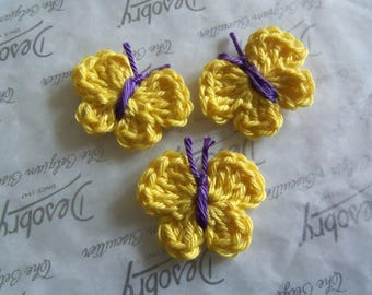 Set of Five Yellow Crochet Butterfly Appliques. Handmade Crochet Butterfly Appliques.