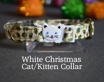 WHITE cat collar - cat collar with jingle bell - breakaway cat collar - luxury cat collar - holly berry white  collar - Cat collar breakaway