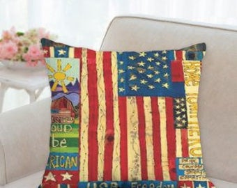 4th of July Rustic Country Pillow