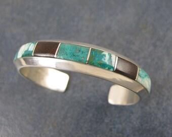 Stone Inlay Cuff Bracelet, Statement Bracelet, Sterling Silver, Blue Green, Wood