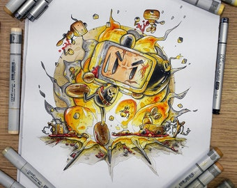 Bomber Man, Punisher Edition, a Copic markers original illustration (collection 2018)