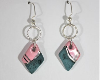 Diamond Shape Dangle Ceramic Earrings, Pink, Teal and Silver // handmade Jewelry // Gift for her