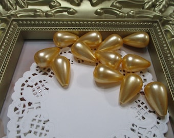 Vintage 24mm Golden Pearl Tear Drop Beads-Costume-Old Stock-Made in Japan