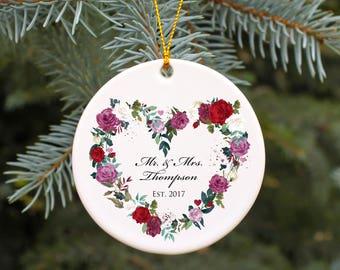 Wedding Gift Keepsake Ornament Personalized Wedding Christmas Ornament Rose Heart Mr and Mrs Ornament Our First Christmas Ornament Gift Idea
