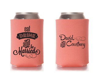 Custom Wedding Collapsible Can Coolers - Eat, Drink & Be Married