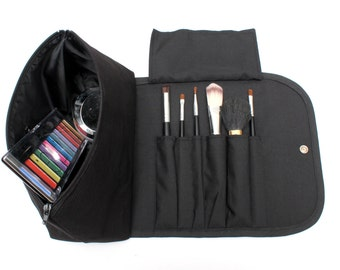 Black Obessed Large Makeup Bag with a Brush Holder Roll and Snap Button.