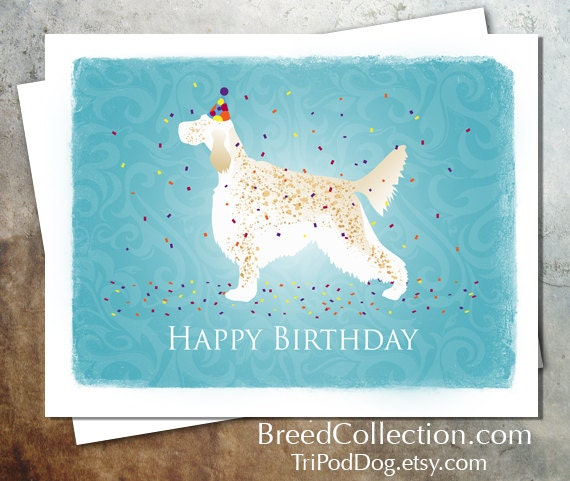 English Setter Birthday Card From The Breed Collection